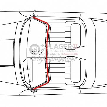 Targadachgummi hinter Frontscheibe für Porsche 911 66-69