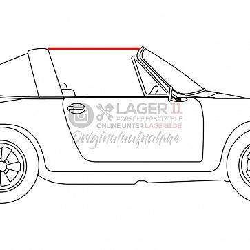 Gummi vom Targadach zur Türscheibe rechts für Porsche 911 66-69