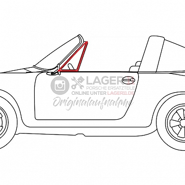 Dreieckscheibengummi Türe links für Porsche 911 Targa 66 -76