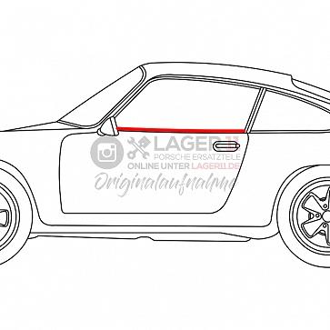 Abdichtleiste Seitenscheibe Türe innen links für Porsche 911 / 964 Coupe 65 - 93