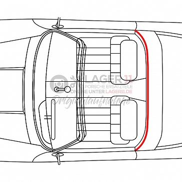 Dichtung vom Dach zum Targabügel für Porsche 911 / 964 84-93 hinten