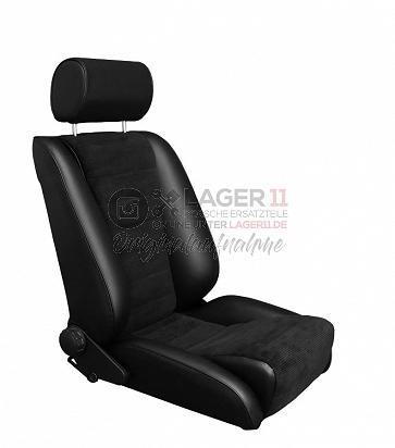 Sitz Recaro-S Replica GTR80 Kunstleder / Cord schwarz für Porsche 911 65 - 89