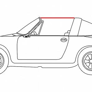 Gummi vom Targadach zur Türscheibe links für Porsche 911 70-89
