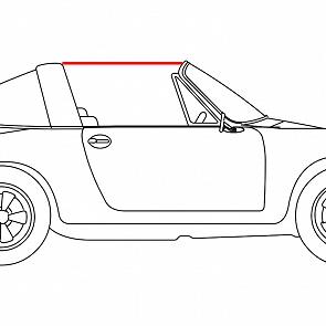 Gummi vom Targadach zur Türscheibe rechts für Porsche 911 70-89
