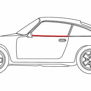 Abdichtleiste Seitenscheibe Türe außen links für Porsche 911 / 964 Coupe 65 - 93