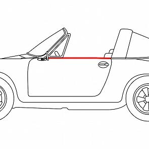 Abdichtleiste Seitenscheibe Türe außen links für Porsche 911 / 964 Targa / Cabrio 65 - 93