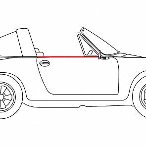 Abdichtleiste Seitenscheibe Türe außen rechts für Porsche 911 / 964 Targa / Cabrio 65 - 93