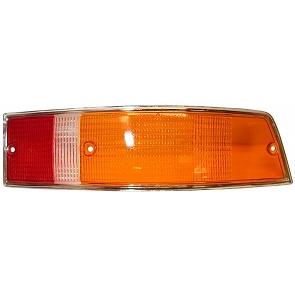 Heckleuchtenglas rechts gelb / rot Rand / silber für Porsche 911 Bj. 69-89