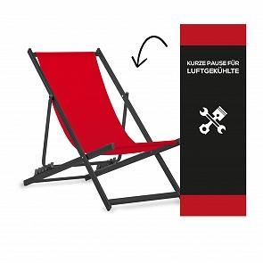 "Liegestuhl aus Aluminium schwarz inkl. Druck ""Kurze Pause"""